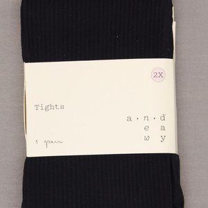 A New Day 50D Semi-Opaque Tights 2X Black Ribbed